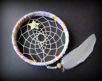 sale - whimsical Mini Dream Catcher - Isla - mint turquoise pink -  goose feather - dreamcatcher - ornament