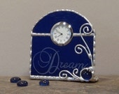 Unique Stained Glass Desk Clock, Cobalt  w/  Cobalt Bead, Gift