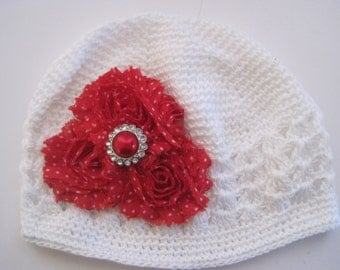 White Toddler Baby Girl Crocheted Beanie with Red Polka Dot Flowers and Matching Rhinestone Accent 18-24 Months