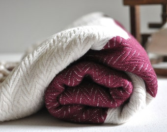 Turkish Towel Bamboo Peshtemal Towel Pure Soft Burgundy Ivory color Lightweight peshtemal towel