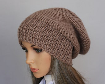 Autumn Accessories-Slouchy Beanie  Women Hat- Mens Slouchy knit hat - Oversized Hat - Chunky Knit - Mens Slouchy knit hat-Sacking Winter Hat