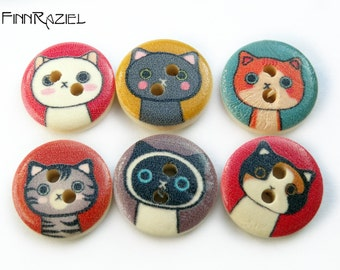6 wood buttons Ø 15mm with cat face cats buttons