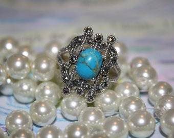 Turquoise Gemstone Sterling Silver Ring Size 8 *PRICE REDUCED*