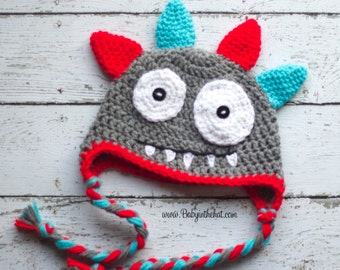 Newborn Monster Hat Photo Prop 0-12 Months Red and Aqua Boys Earflap Beanie