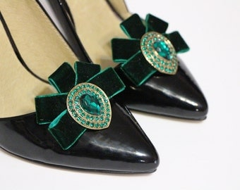 Shoes clips - Emerald velvet ribbon and teardrop