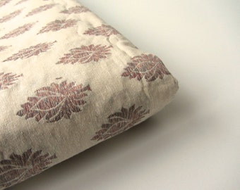 off white beige brown flowers silk brocade from India fabric nr 508 fat quarter