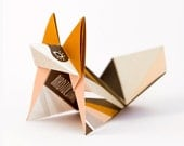 Mustard fox: Pack of three origami fox with pattern print, folded and packed