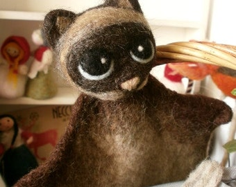 Felted cat - hand puppets - Ooak art doll - Natural Toy