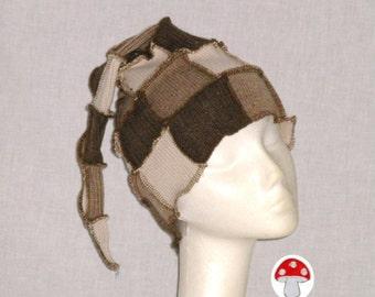 "Elf Hat DEPOSIT Special Order ""Walnut Brownie"" Stocking Cap Beanie One Size Unisex Patchwork Recycled Sweaters Dark Dusty Brown Tan Cream"