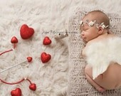 Cupid Red and White Heart Bow and Arrow Set - Red Glitter Scatter Hearts - Perfect Valentines Day Newborn Photo Prop