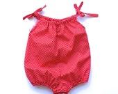Baby girl romper bubble romper red polka dot playsuit sun suit baby shower gift