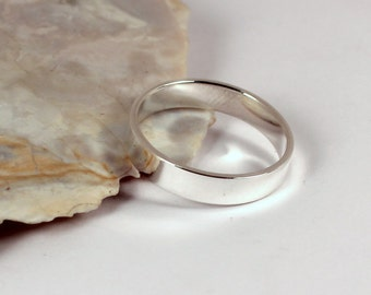 Straight up Polished Silver Band Ring, 4mm wide, Sterling Silver, Made to Order