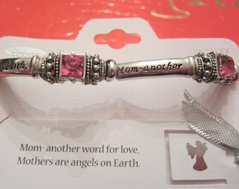 Mom Mother Silver Crystal Message Blessing Bracelet Valentine's Day Mothers Day Easter