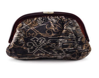 Vintage Carpet Bag Clutch Oversized Mid Century Plastic Frame Abstract Design Charcoal Gray Rust
