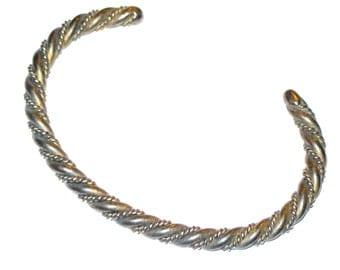 Vintage silver twist cuff bracelet 925