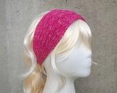 Pink Knit Headband, Tie Back Headband, Knit Bandana, Head Scarf, Cotton, Metallic Glitter, Boho Fashion