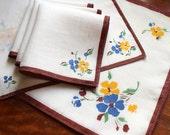 Vintage Linen Placemats Napkins Four 4 Place Mats Set Brown White Blue Yellow Flowers Plus