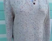 1980s Hunter Glen Cropped oversized Confetti Knit Sweater pocket henley size medium wool