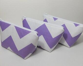 Small Makeup Bag, Lavender and White Chevron