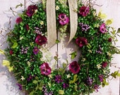 Spring Wreaths, Summer Wreath, PURPLE FLORAL BERRY Boxwood Door Wreath, Front Door Wreath, Spring Summer Door Wreath, Wreath, Wreaths