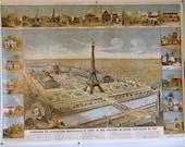 Vintage Paris Print Depicting the Celebration of the Centennial Paris Exhibition 1789-1889, Poster Printed 1989