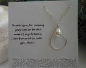 Mother of the Groom Gift, Teardrop Pearl Necklace, Silver Necklace,Mother in Law Gift, Wedding Jewelry,Silver Teardrop Necklace,Groom Mother