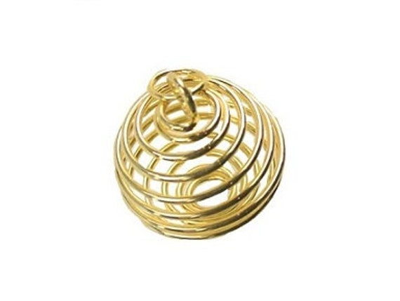 Gold Plated Coil Jewelry Making Cage Pendant Wrapped