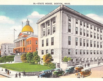 Vintage Linen Postcard...State House, Boston Mass...Unused....no. 2408