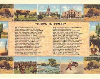 Vintage Linen Postcard...Down In Texas....Unused...no. 1533