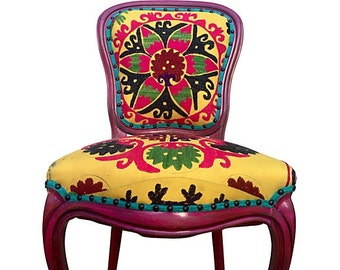 French Side Accent Dining Chair Vintage Hand Embroidered Suzani Silk Upholstered Distressed Aged Colorful Rustic Modern Chic Eclectic Style