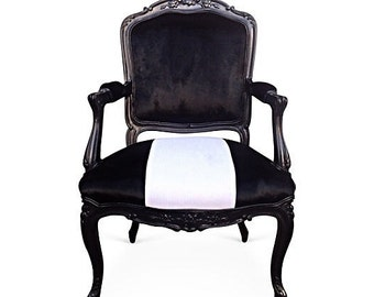 French Bergere Arm Chair Dining Accent Desk Chair Custom Upholstery Black White Velvet Chenille Modern Chic Contemporary Vintage