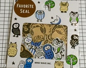 Kawaii sticker flakes / Owl theme pattern Stickers / 70 stickers (1 pack) / Japanese Mind wave stickers Favorite seal 77227