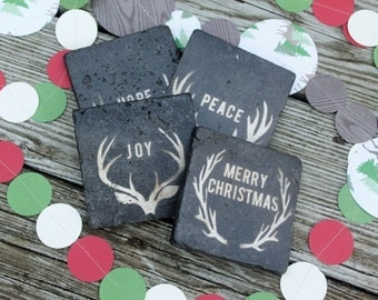 READY TO SHIP  Peace Love Joy Hope Holiday snowflake christmas coasters  rustic christmas country christmas