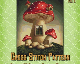 Mushroom Home 1 Cross Stitch Pattern Cute Fantasy Fairy Design Instant Download PdF Pattern