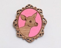 Laser cut wood brooch, Adorable little deer fawn bambi cameo, handpainted neon pink