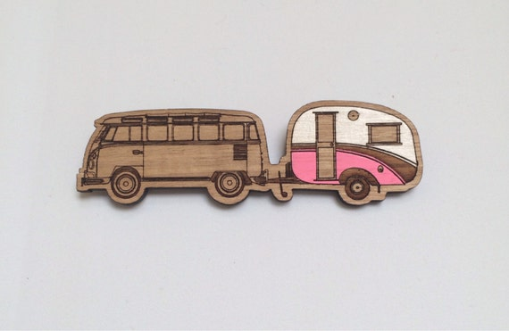 Wood laser cut brooch Cosy vintage Caravan/Kombi combo Hand painted pink and white