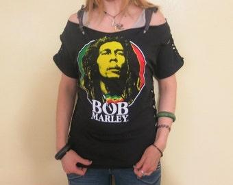 Shredded Bob Marley T Shirt OOAK