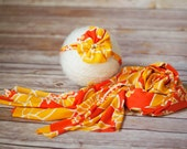 Bright hawaiian set, newborn yellow wrap, flower jewel headband, orange stretch warp, newborn girl wrap set, headband set, bright wrap set,