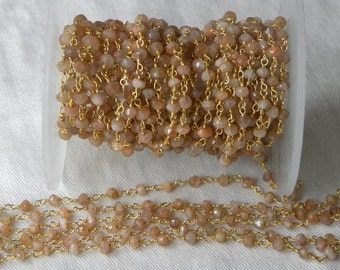 Sunstone Rosary Chain 9 to 18 Inches Gold on Brass Wire Chain 3.5mm Natural Orange Faceted Gemstone Bead Chain Take 10% Off Jewelry Supply