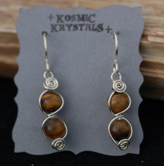 Tigers Eye Gemstone Earrings in Sterling Silver / Small Wire Wrapped Dangle Earrings / Brown Earth Tone Stone Jewelry