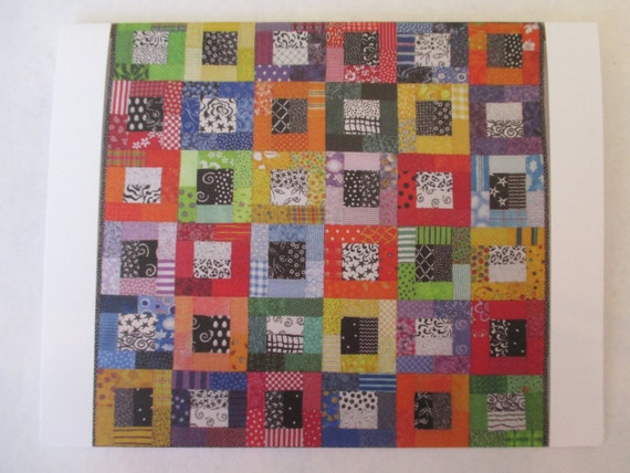 Color Blocks quilt note card (folded)