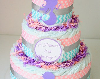 mermaid baby shower mermaid shower decoration mermaid diaper cake pink