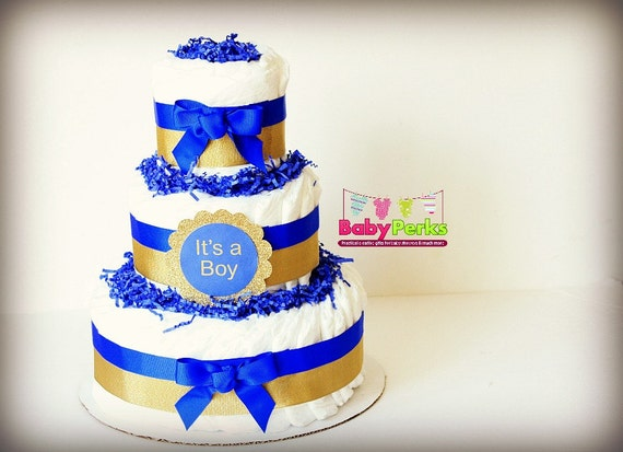 blue and gold diaper cake royal blue baby shower decorations