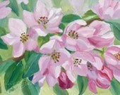 Apple Blossom Painting Original Pink Flowers Oil on 5x7 Panel by Janet Zeh
