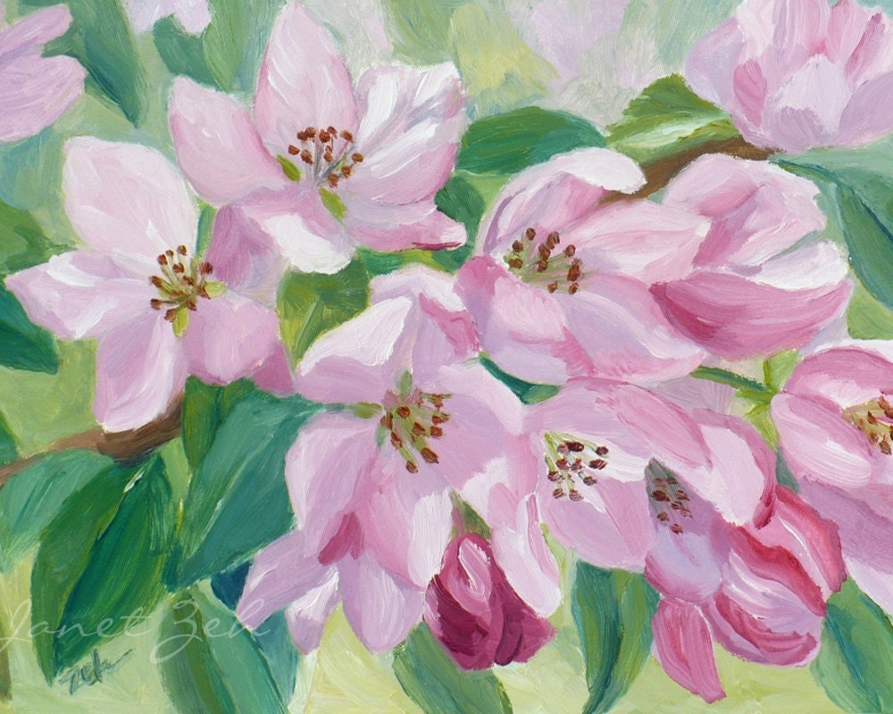 Apple Blossom Painting Original Pink Flowers Oil by ...