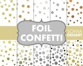 Digital Paper Foil Confetti Gold. Silver, Platinum, Copper Commercial use