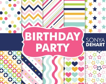 Digital Paper Birthday Party Commercial Use  Clipart