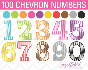 Clipart Chevron Numbers Set of 100   Clip Art CA226