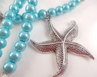 Aqua starfish necklace