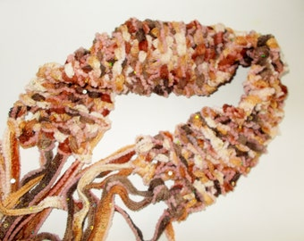 Boho Fringe Belt Scarf Funky Chunky Sparkly Hand Made Knit Accessory